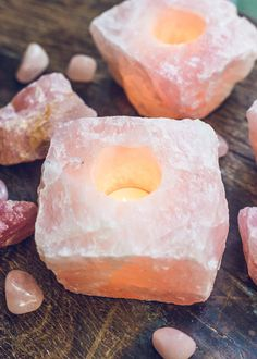 Love is all you need! These beautiful pink rose quartz tealight candle holders are the perfect natural crystal decor to add to any room or meditation space.