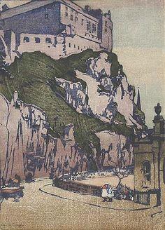 Edinburgh Castle, 1920's by Mabel Royds (1874-1941)....born in Bedfordshire, Royds however joined the staff of Edinburgh College of Art in 1911 and spent most of the rest of her life in Scotland...woodblock print...