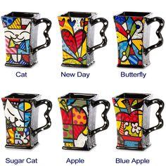 New Romero Britto Square Mug Coffee Ceramic Authentic Dolomite Pop Art 6 Designs - Tea pots - Anna gift Art Pop, Design Pop Art, Ceramic Teapots, Ceramic Pottery, Cerámica Ideas, Gift Ideas, Colorful Elephant, Teapots And Cups, Teacups