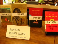 I could easily do this in conjunction with caution tape/chains.   The Information Exchange: Banned Books Week 2010 Library Book Displays, Library Books, Book Wizard, Fahrenheit 451, Library Programs, Book Week, Books To Read, Literature, Display Ideas