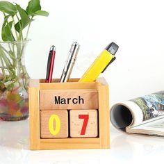2016 Creative DIY grocery Creative Wood Pen container Calendar Furnishing Articles Manually Small Desktop storage box(China (Mainland))