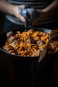Homemade Spaghetti & Bison Meatballs with Porcini Truffle Sauce