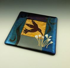 Art Glass Wall Tile, Red Hummingbird, Copper - kiln-formed, fused, home decor on Etsy, $45.00