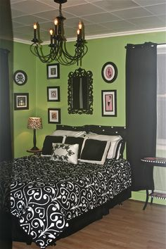 Green Black And White Bedroom