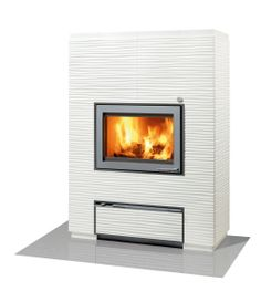 VALKIA AALTO WHITE is full soapstone heat-retaining fireplace with figure coating!