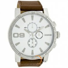OOZOO Large Τimepieces Brown Leather Strap C6095