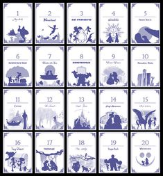 Disney-themed Table Numbers Set of 20 by TatakiDesign on Etsy