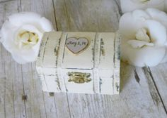 Wedding Ring Box Hand painted Rustic Primitive by Modern101, $25.00