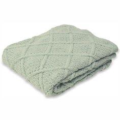 Picture showing Jeté de lit tricot à losanges 130x180cm, vertduNil 37