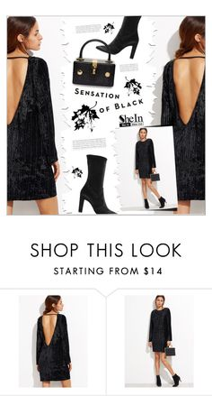 """SheIn (Black Open Back Ribbed Velvet Dress)"" by meyli-meyli ❤ liked on Polyvore featuring Dolce&Gabbana and Vision"