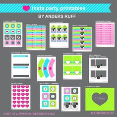 Insta Party Teen Tween Birthday Party Printable Collection