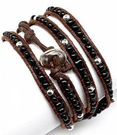 Black ,Brown, Silver Glass Bead Leather Wrap Bracelet