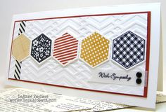 handmade card for challenges: RR33 and CCMC396:  Hexagon Sympathy ... short and wide ... Stampin' Up!
