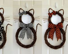 Cat Wreath Halloween Wreath Kitty Boo Cat by SparkleWithDesigns