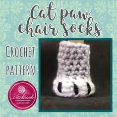 Cat Paw Chair Leg Covers Pattern Includes instructions for 2 sizes: Small around and high, and Large 4 around and 5 high Skill Level: Easy Not a crocheter? I also have these in my Etsy shop and you can choose custom colours to match your decor Crochet Heart Blanket, Crochet Scarf Easy, Crochet Chain, Crochet Socks, Chat Crochet, Crochet Home, Irish Crochet, Chair Leg Covers, Chair Socks