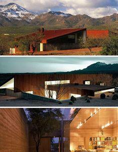 Rick Joy. Made with rammed earth, concrete and a rusted core-ten steel roof, this home offers minimalist multi-level living that takes advantage of cooler air closer to the surface of the landscape.