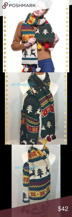 🆕Beautiful Oversized Reversible Reindeer Scarf So beautiful! Oversized scarf with patterns of snowflakes, trees, and reindeer. Has large pompoms on edges.  Colors are green, beige, yellow, red. 100% acrylic. About 12 inches wide and 66 inches long. New retail item. Price firm unless bundled. Save 20% on 2 or more items from my closet 💗 Accessories Scarves & Wraps