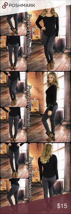 Charcoal Fleece Lined Soft Full Length Leggings NWT Charcoal Gray Fleece Lined Soft & Stretchy Full Length Leggings  Size: One Size   Available in Black, Olive, Chocolate, Burgundy, Navy, Charcoal Gray & Khaki   Lowest Price Up Front  Bundle discounts available  No pp or trades  Item # 1/101280150FLL leggings Pretty Persuasions Pants Leggings