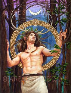 The Horned God goes by many names. Cernunnos, The Celtic God of fertility. Herne The Hunter. Pan the Greek God of the Woodlands, Janus the Roman God of Good Beings. Tammuz and Damuzi, the Son, Lover and Consorts to Ishtar and Inanna. Osiris, the Egyptian Lord of the Underworld. Dionysus, the Greek God of Vegetation and the Vine. The Green Man, the Lord of Vegetation and the Woodlands. Merindah: and Shiva. He is Shiva.