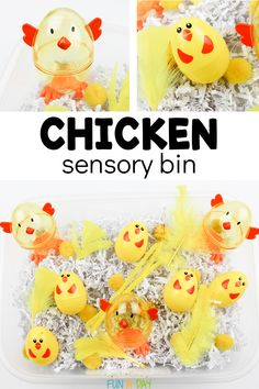 This chicken sensory bin is perfect during a farm theme or as one of your Easter activities for toddlers and preschoolers. It's a fun spring indoor activity for kids! Free Preschool, Toddler Preschool, Toddler Crafts, Preschool Winter, Preschool Printables, Preschool Worksheets, Preschool Crafts, Easter Crafts, Kids Crafts