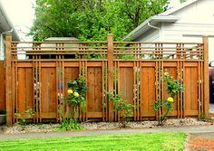 fence in Roseway neighborhood, Portland Lovely craftsman style fence.- I would like this where we have our climbing plants More fence in Roseway neighborhood, Portland Lovely craftsman style fence.- I would like this where we have our climbing plants Fence Landscaping, Backyard Fences, Garden Fencing, Pool Fence, Inexpensive Landscaping, Patio Fence, Patio Slabs, Diy Fence, Patio Roof