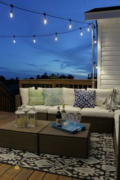 Rooftop deck lighting ideas for outdoor lighting. Lighting can expand the usage and also satisfaction of an exterior deck, increase safety and security. Outdoor Hanging Lights, Lights On Deck, How To Hang Patio Lights, String Lights, Patio Lighting, Lighting Ideas, Rooftop Lighting, Kitchen Lighting, Outdoor Spaces