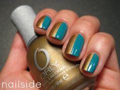 Nailside teal gold nails