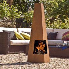 garden furniture ideas wood burning chiminea contemporary desifn