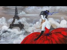 Red Dress Eiffel Tower beginner Acrylic Painting class ANGELOONEY - YouTube