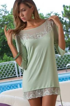 Mint nightdress. Photo © Cotton Club Dessous Italy. #Mint #Lingerie #Dessous #Loungewear