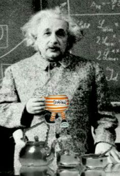 """OK viewers, let's take it away with the latest news article. Albert Einstein ring a bell? He's the man with an IQ of 3,75478904367 squillion, pictured here proudly holding his very own Santino & Co Walking Pottery Cup """"The Prisoner On The Run"""". And if I'm not mistaken  it's the special US colorway edition. It's not just you Alb who's a-know-it-all!  Santino Dipiazza...making today's collectables... tomorrow's antiques."""