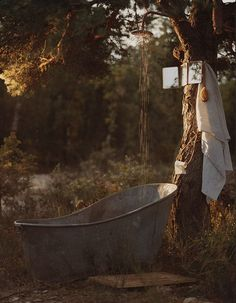 Vintage outdoor tub and shower, rustic cottage life, woods. Why did erectile dysfunction commercials have to ruin outdoor tubs?