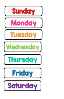 Calendar Days Of The Week Today Tomorrow Yesterday Learning