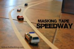Make a DIY masking tape speedway for your kids!