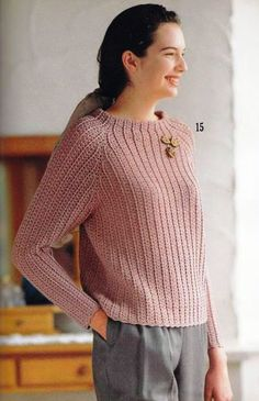 Crochet Blouse Patterns Ravelry: Top-Down Crochet Sweater pattern by Tamae Yamamoto(山本玉枝) - This pattern is written in Japanese. Black Crochet Dress, Crochet Cardigan, Ribbed Crochet, Crochet Lace, Crochet Tank Tops, Knitting Paterns, Embroidery Suits, Crochet Magazine, Crochet Clothes