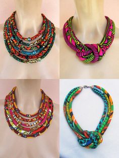 Colliers style ethnique montage by CéWax Textile Jewelry, Fabric Jewelry, Ethnic Jewelry, Diy African Jewelry, Fabric Necklace, Diy Necklace, Crochet Necklace, African Accessories, Women's Accessories