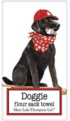 Baseball Black Labrador Retriever Dog 100% Cotton Flour Sack Dish Towel Tea Towel