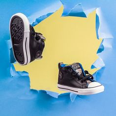 Up-style your boy's sportswear only with leather Leather Converse, Fall Winter, Autumn, Up Styles, Chuck Taylors, Sportswear, Black And Grey, Slip On, Boys