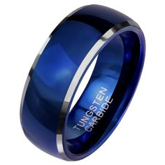 What do you think of this new classic royal blue tungsten ring? This classic royal blue ring is made of solid tungsten carbide. This simple and classic design will make a great everyday casual, handfasting, promise, anniversary ring or wedding band. The ring has a high polish royal blue color PVD finish with tungsten color beveled edges that catch the light and create a nice two tone effect. The band measures 8mm wide and is a comfort fit band. Made in ring sizes 9, 10, 11, 12, and 13. Simple Wedding Bands, Wedding Bands For Him, Wedding Ring Bands, Titanium Rings, Tungsten Rings, Tungsten Carbide, Gold And Silver Rings, Blue Rings, Tungsten Jewelry