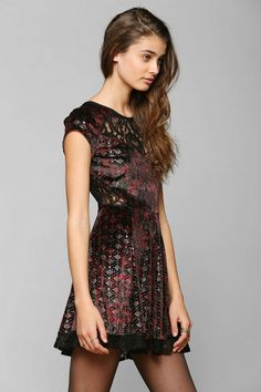 Ecote Fortune Teller Velvet & Lace Mix Dress Urban Outfitters $79