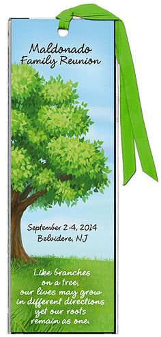 """Idea For Family Reunion Favors - Personalized Sheltering Family Tree Bookmarks with the quote """"Like branches on a tree, our lives may grow in different directions, yet our roots remain as one"""". More family reunion favors at http://www.photo-party-favors.com/family-reunion-favors.html"""