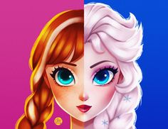 Anna + Elsa This print is available at my Society6 Shop also as a mug, throw pillow,etc. https://society6.com/audreyrdz/ Please support my art by becoming my patron on Patreon so I can produce more awesome art for you!...