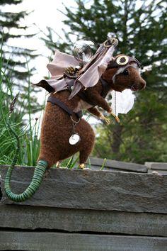 Flying Steampunk Rat OOAK Artist Needle felt Sculpture by Stevi T. Steampunk Animals, Steampunk Dolls, Steampunk Costume, Needle Felted Animals, Felt Animals, Needle Felting, Animal Sculptures, Felt Toys, Soft Sculpture