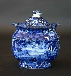 Lot: 57: Dark Blue Historical Pattern Staffordshire Sugar Bo, Lot Number: 0057, Starting Bid: $250, Auctioneer: Grand View Antiques & Auction, Auction: Special Estate Antiques Auction, Date: March 7th, 2009 EST