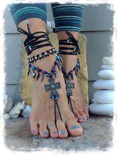 Spiky Goth negro plata tobillo pulsera abalorios pulsera por GPyoga