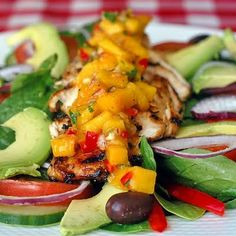 Lime-Cumin Grilled Chicken Salad with Avacado and Mango Salsa