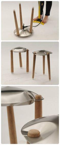 """Le tabouret """"Puff!"""" du designer israélien Moran Barmaper qui se gonfle en utilisant une pompe à vélo simple, vous pouvez gonfler le siège métallique. De plus, il n'a pas besoin de colle et de vis, c'est au cours du gonflage les joints métalliques deviennent serrés autour des jambes de bois."""