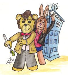 Some say this was long time coming... But I wasn't sure if I could do it and still not that sure I did this justice. Meet the Eleventh Doctor (Matt Smith), his feisty companion Amy as they join the ranks of the Teddy Bear Sketch Cards. Finished in traditional boxed watercolor and black ink.