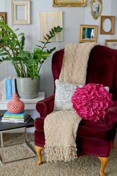 31 Days of Creative Homemaking--A Pretty Little Corner Cozy Reading Corners, Cozy Corner, Reading Nooks, Interior Styling, Interior Decorating, Interior Design, Red Velvet Chair, Masters Chair, Little Corner