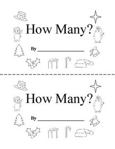 This half page Christmas counting book contains Christmas objects for students to count, then they will write the number and finally color the pictures. Christmas Printable Activities, Counting Books, Math Activities, Worksheets, Kindergarten, Students, Objects, Holidays, Number